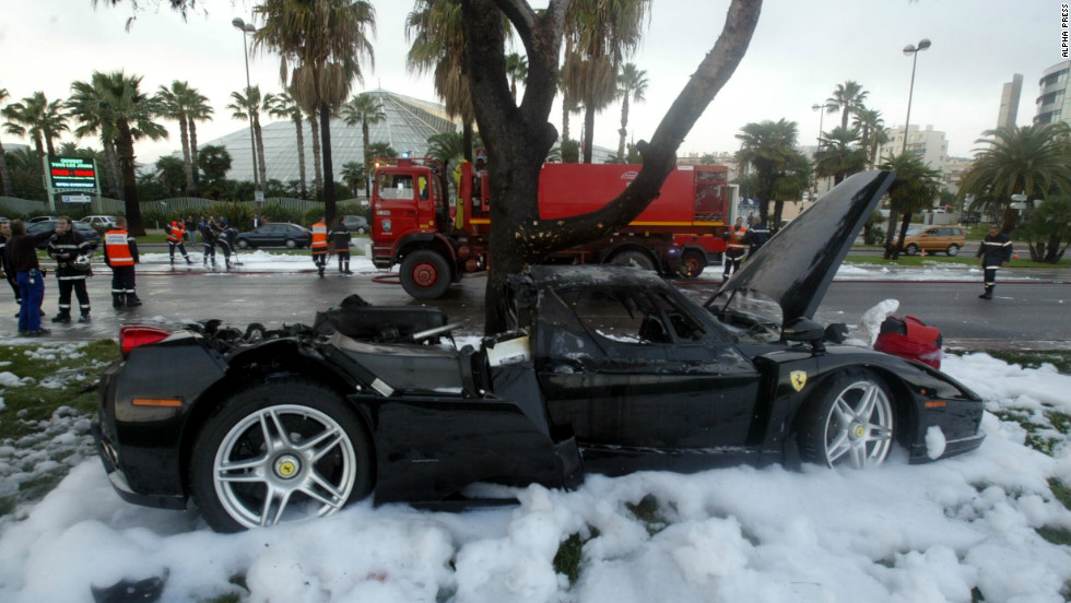 The Ferrari Enzo that Russian billionaire Suleiman Kerimov crashed in Nice, November 2006. The accident almost killed him and prompted an informal review of lending conditions at Barclays.