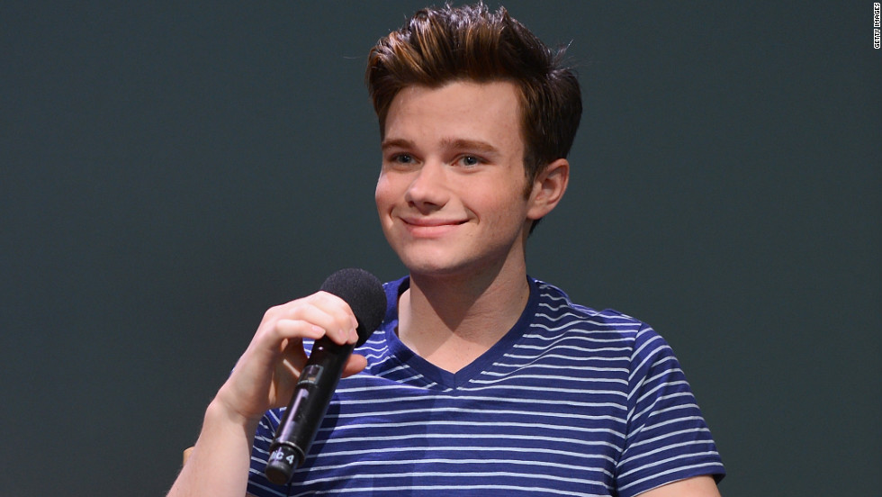 Chris Colfer takes questions at an event in New York City.