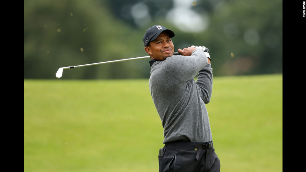 Tiger Woods of the United States hits his second shot on the second hole during the second round Friday.