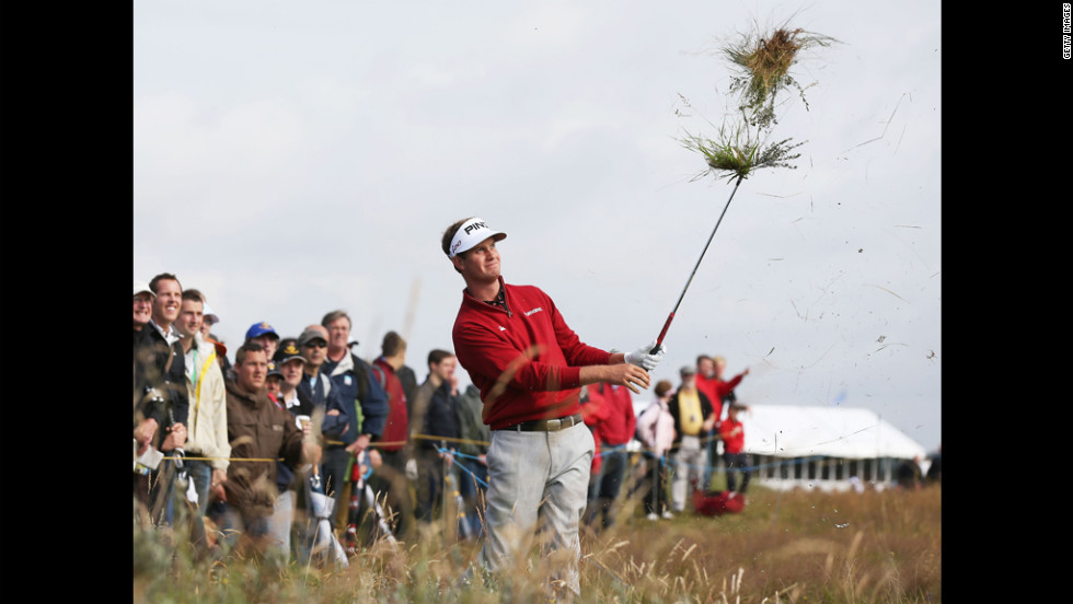 Harris English of the United States plays a shot from the rough on the sixth hole during the second round on Friday.