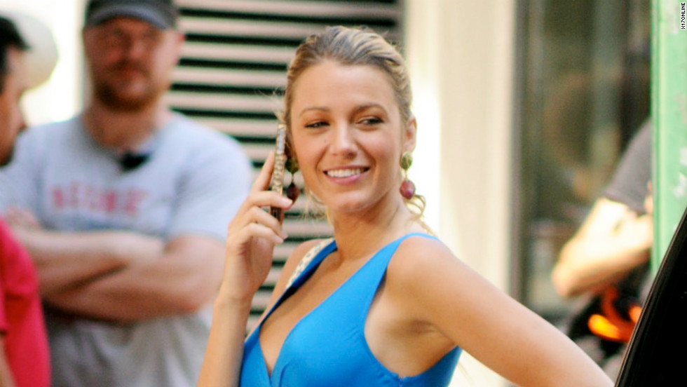"""Gossip Girl"" star Blake Lively at work in New York on July 18."