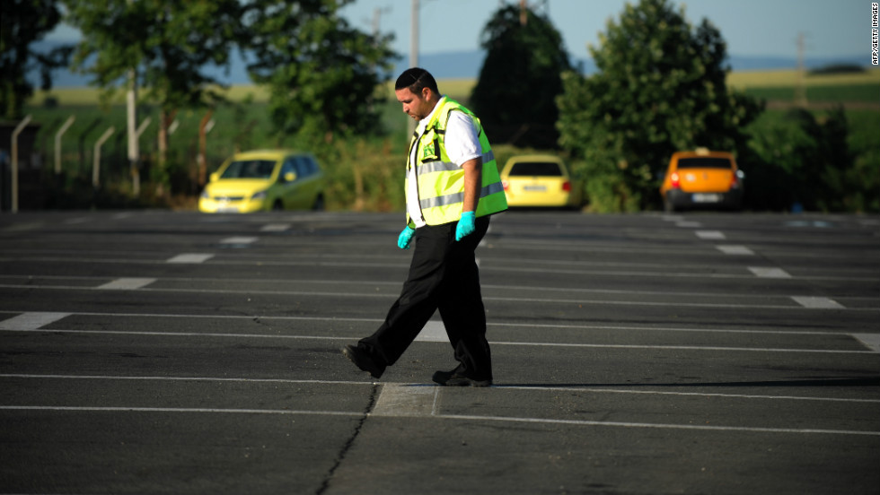A member of the Israeli rescue and recovery squad searches for evidence at the airport in Burgas, the site of a suicide blast targeting Israelis on July 19.