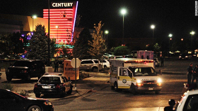 Emergency vehicles converged on the Century 16 Theater to treat victims.