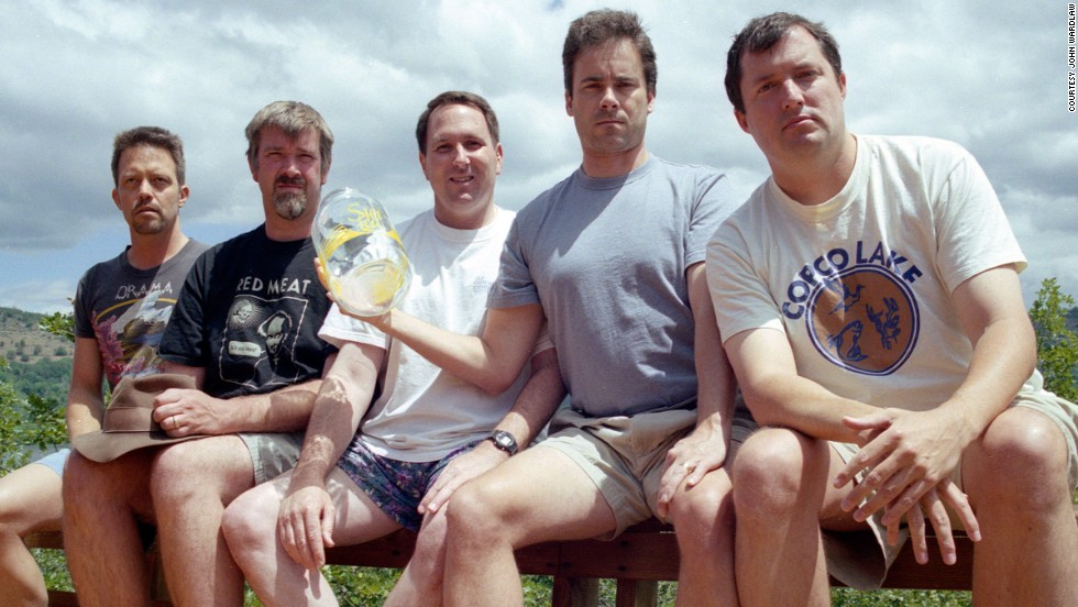 <strong>Copco Lake, 2002. </strong>From left to right: John Wardlaw, Mark Rumer-Cleary, Dallas Burney, John Molony and John Dickson in 2002.