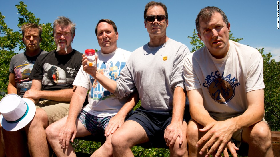 <strong>Copco Lake, 2012.</strong> From left to right: John Wardlaw, Mark Rumer-Cleary, Dallas Burney, John Molony and John Dickson in 2012.