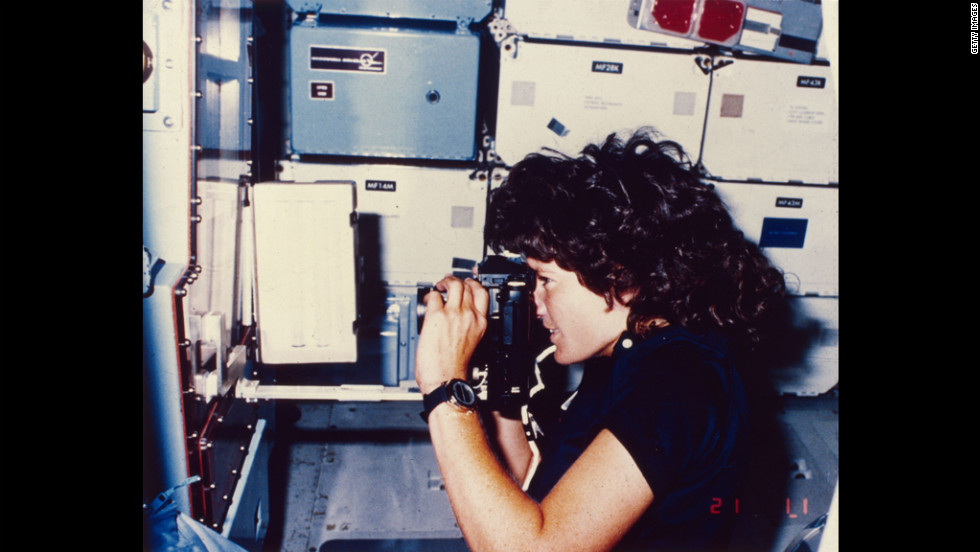 Ride takes a photograph while orbiting Earth on the Challenger.