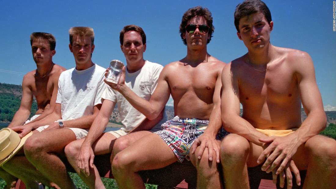 <strong>Copco Lake, 1987.</strong> From left to right: John Wardlaw, Mark Rumer-Cleary, Dallas Burney, John Molony and John Dickson in 1987.
