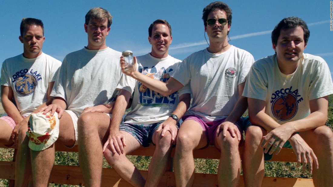 <strong>Copco Lake, 1997.</strong> From left to right: John Wardlaw, Mark Rumer-Cleary, Dallas Burney, John Molony and John Dickson in 1997.