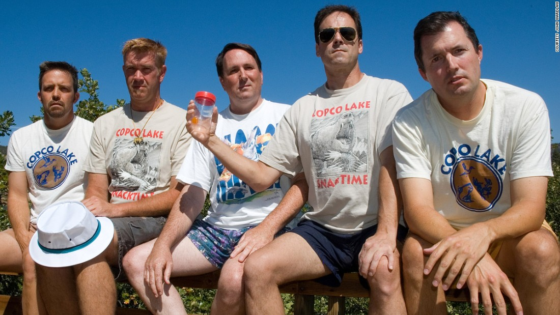 <strong>Copco Lake, 2007. </strong>From left to right: John Wardlaw, Mark Rumer-Cleary, Dallas Burney, John Molony and John Dickson in 2007.