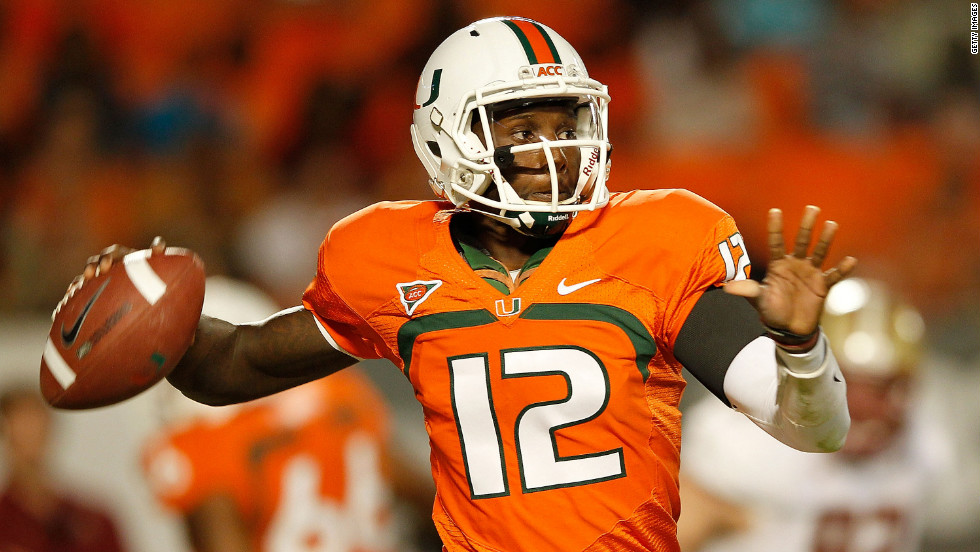 University of Miami quarterback Jacory Harris throws a pass during a 2011game. Harris was one of 13 Hurricanes initially ruled ineligible after the NCAA began investigating allegations by Nevin Shapiro, an imprisoned former booster, that he for eight years provided 72 athletes with benefits that violated NCAA rules. Shapiro is incarcerated for running a $930 million Ponzi scheme. After Miami petitioned for the players' reinstatements, one player was vindicated, while the other 12, including Harris, were reinstated after serving suspensions and/or paying restitution. The investigation into the Shapiro scandal is ongoing.