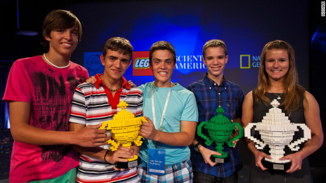 Google Science Fair winners Iván Hervías Rodríguez, Marcos Ochoa and Sergio Pascual; Jonah Kohn; and Brittany Wenger.