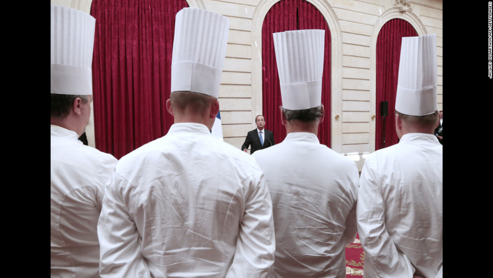 French President Francois Hollande delivers a speech during a reception for chefs at the Elysee Palace in Paris, on Tuesday.