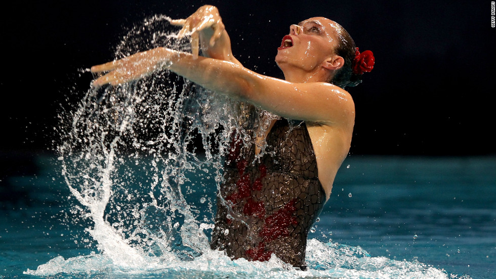 It sounds like an oxymoron, but solo synchronized swimming was made an Olympic sport in 1984 -- and discontinued in 1992. Here, Bulgarian Kalina Yordanova competes at the 2012 European Synchronized Swimming Championships in the Netherlands.