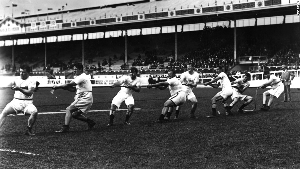 Tug-of-war was one of the events at the 1908 London Olympics. Here, members of the U.S. team test their strength at the stadium in White City.