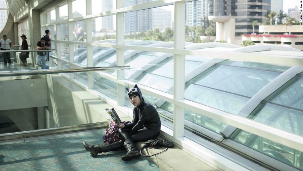 Catwoman double-checks her panel plans for the day.
