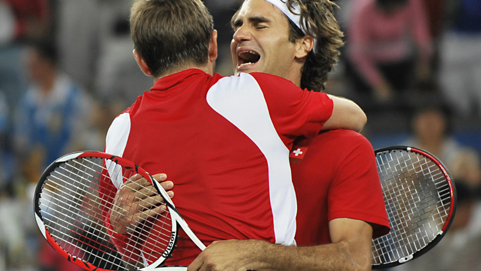 Federer breaks down as the significance of their achievement gets the better of him.
