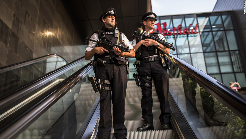 Police patrol Westfield Stratford City shopping mall near London Olympic Park on Thursday.