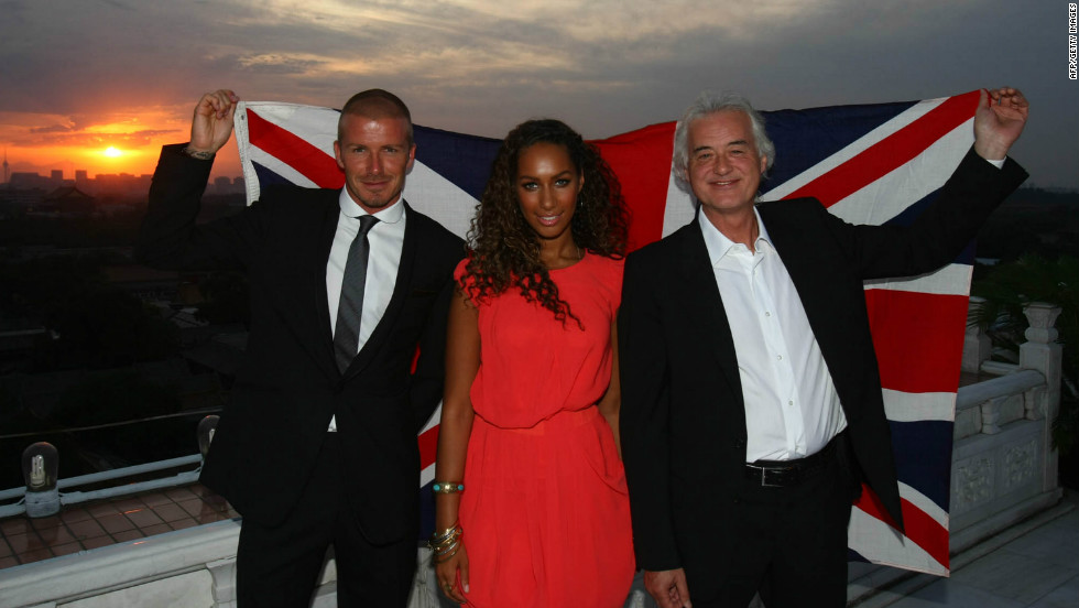 David Beckham, Leona Lewis and Jimmy Page were the stars of the London 2012 handover performance in Beijing 2008, a move that alluded to the new host's musical pretensions.