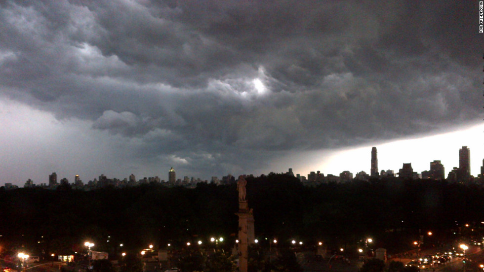 The storm brews over Columbus Circle, looking east over Central Park in New York on Thursday.