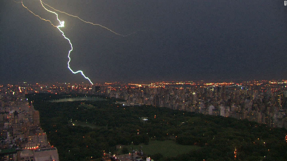 A lightning bolt strikes in New York, lighting up Central Park.
