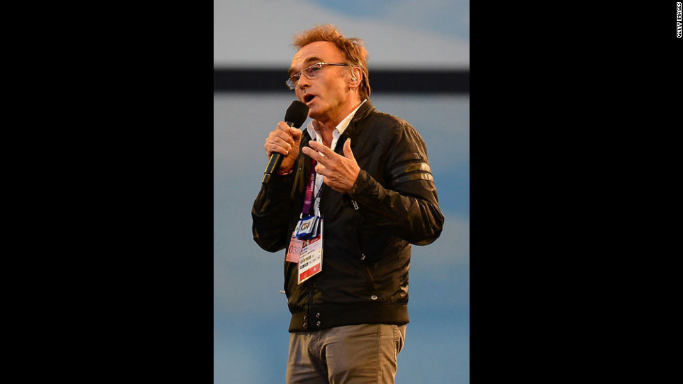 Danny Boyle, the London 2012 artistic director, addresses the audience.