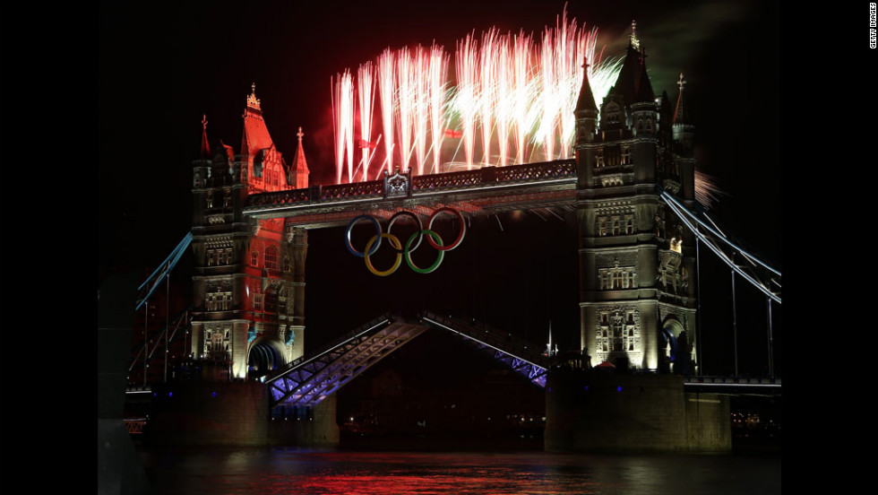 Fireworks are displayed at Tower Bridge.