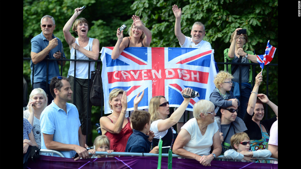 British fans enjoy the atmosphere during the men's cycling road race.