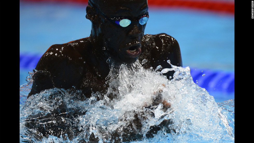 Senegal's Malick Fall competes in the men's 100-meter breaststroke heats.
