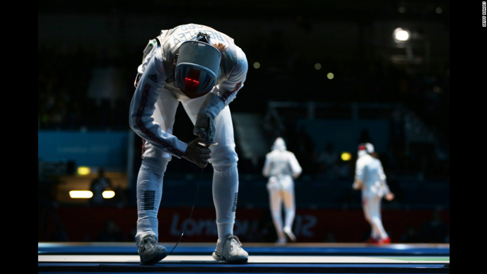 Great Britain's Anna Bentley celebrates winning her women's foil match against Monica Peterson of Canada.