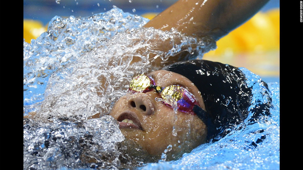 Vietnam's Nguyen Thi Anh Vien competes in the women's 400-meter individual medley heats.
