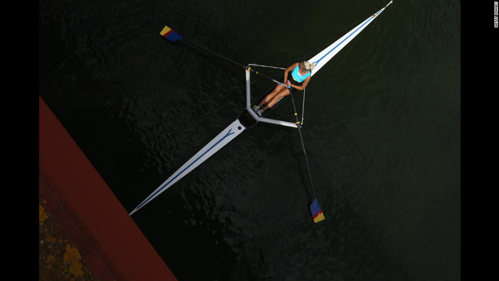 Svetlana Germanovich of Kazakhstan competes in a women's single sculls heat.