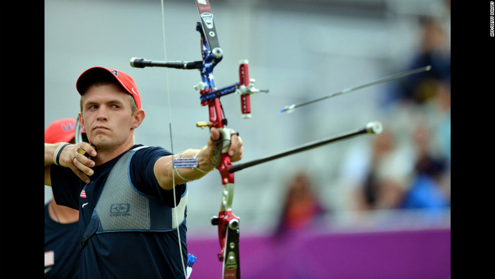 Jacob Wukie of the United States shoots an arrow during the men's team archery final match against Italy. Italy defeated the United States to win gold as South Korea got bronze.