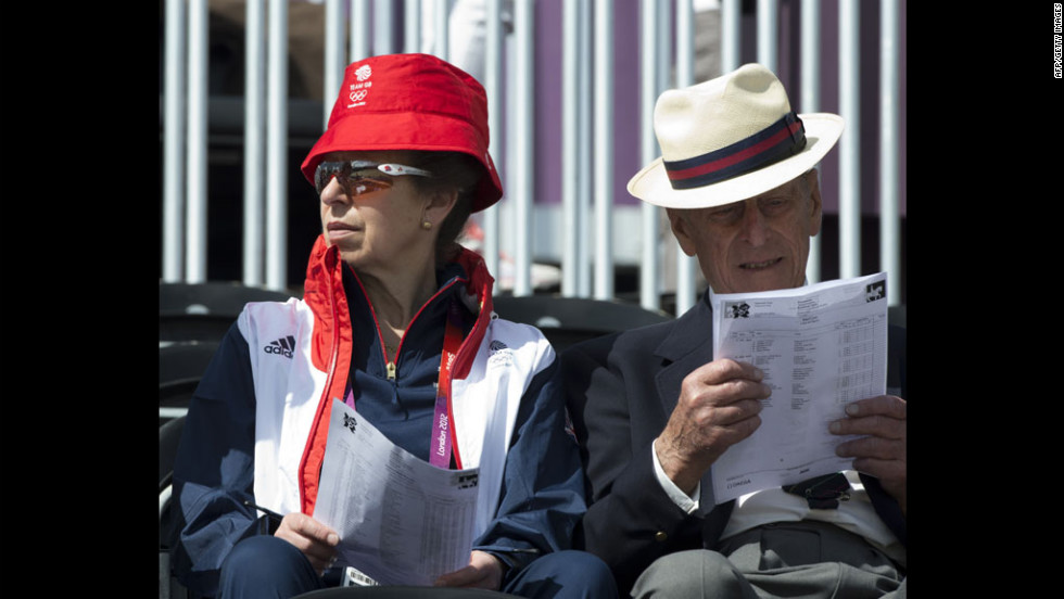 Britain's Prince Philip, right, and Princess Anne, Princess Royal, left, attend the Dressage phase of the equestrian competition.