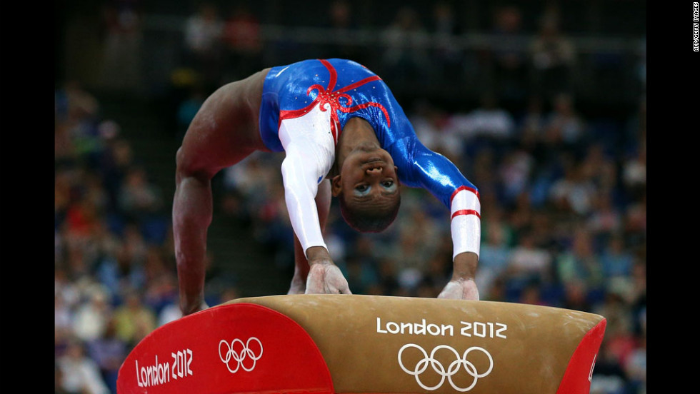 "Yamilet Pena Abreu of the Dominican Republic competes in the vault competiton in the artistic gymnastics women's team qualification. See <a href=""http://www.cnn.com/2012/07/30/worldsport/gallery/olympics-day-three/index.html"" target=""_blank"">day three of the competition</a> from Monday, July 30."