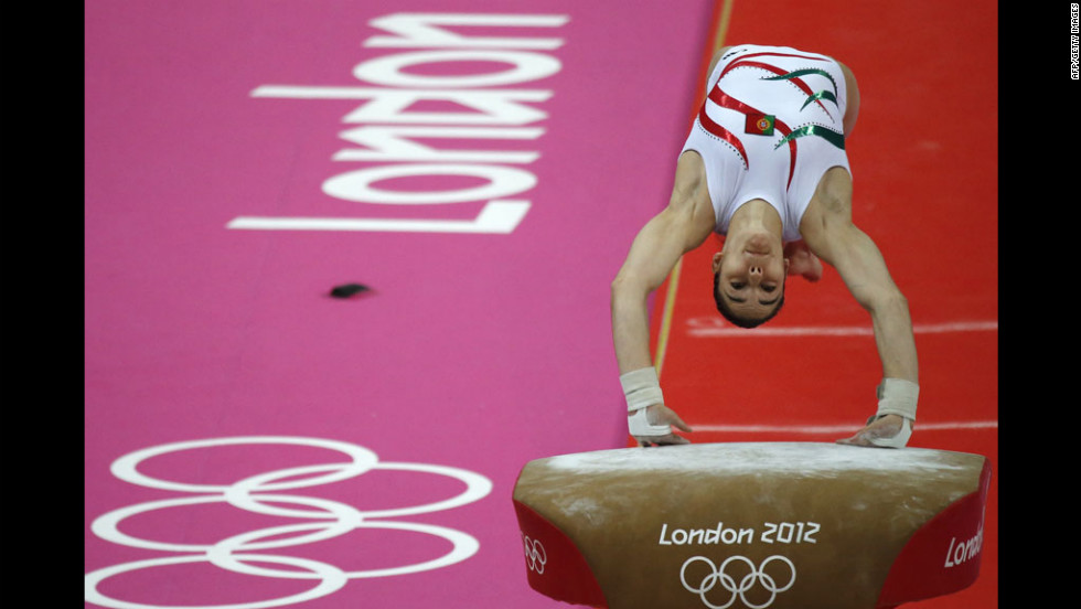 Portuguese gymnast Zoi Mafalda Marques de Lima performs on the vault during the women's qualification of the artistic gymnastics event.