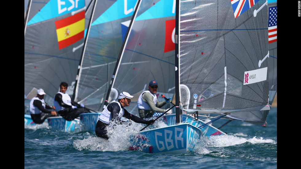 Ben Ainslie of Great Britain in action during the first Finn class race in Weymouth, England.