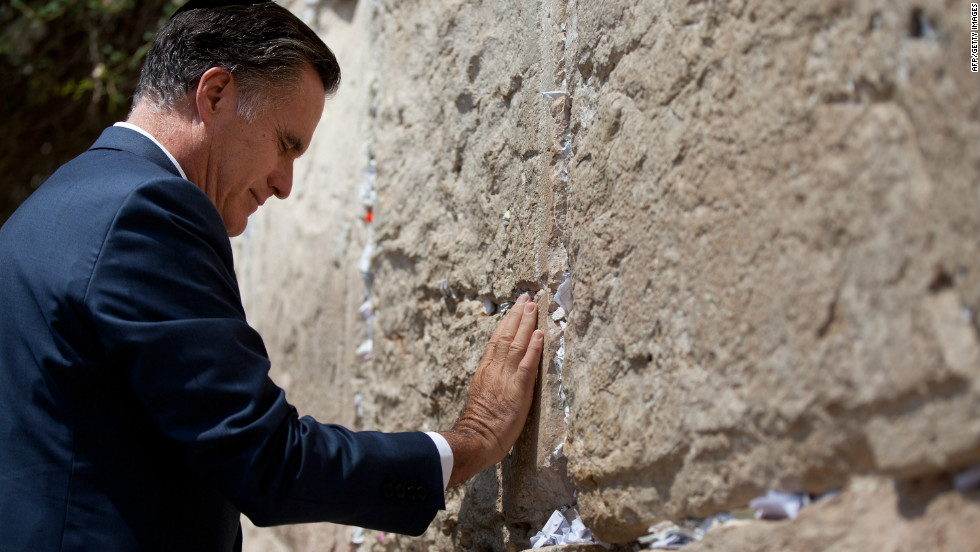 Mitt Romney visits the Western Wall on in Jerusalem's old city on Sunday, July 29, during his visit to Israel.