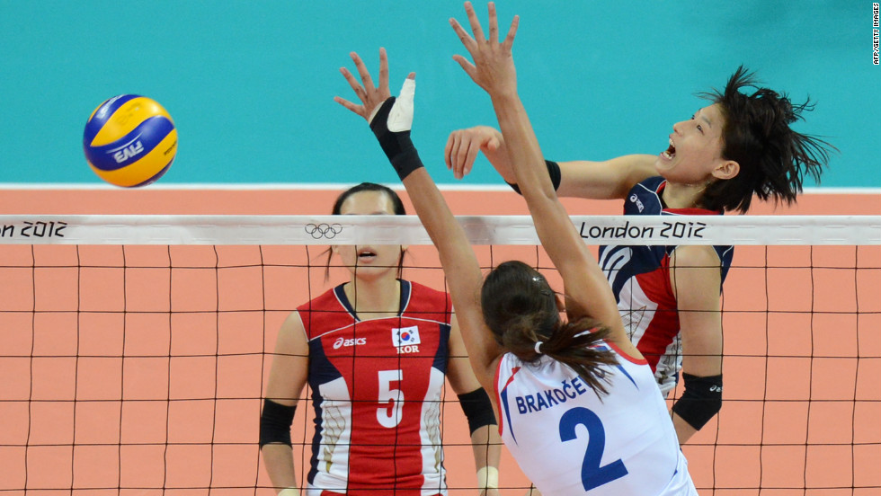 South Korea's Kim Yeon-Koung spikes the ball as Serbia's Jovana Brakocevic attempts a block during the women's volleyball match Monday.