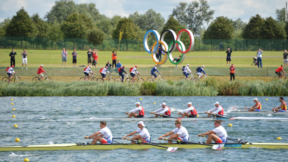 Rowers compete at Eton Dorney Rowing Centre in Eton, west of London, on Monday.