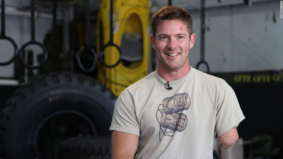"Sgt. Noah Galloway, who is retired from the U.S. Army, says he still ""trains like a machine."" The double amputee lost his left arm and left leg above the knee after an IED struck his vehicle during his second tour of duty in Iraq. A grueling workout regimen is part of his plan to overcome his disability and inspire other injured veterans."