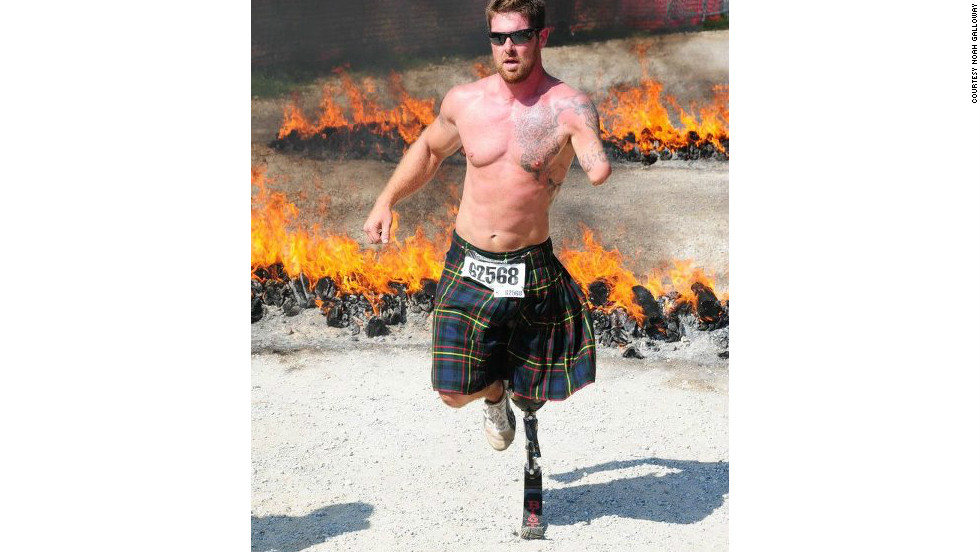 In an effort to challenge himself, Galloway began running grueling races such as the Warrior Dash and Tough Mudder. Both require the runners to battle a course of obstacles like fire pits and walls to climb over.