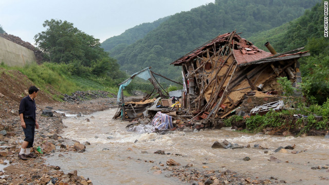 Heavy rain hit the capital Pyongyang, as well as North and South Phyongan provinces Sunday. The country faced similar extreme weather in 2010 (as pictured here in the Pyongyang province)