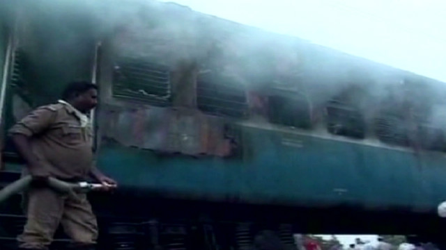 Fire rages aboard passenger train