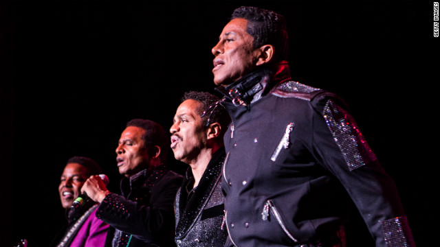 From left, Tito Jackson, Jackie Jackson, Marlon Jackson and Jermaine Jackson perform at The Greek Theatre on July 22 in Los Angeles.