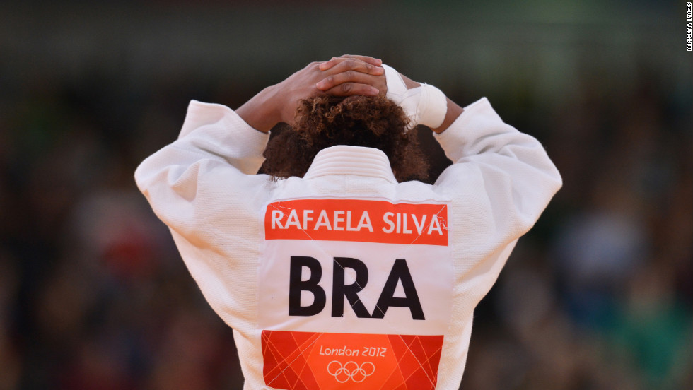 Brazil's Rafaela Silva reacts after realizing she put her BRA on backwards.