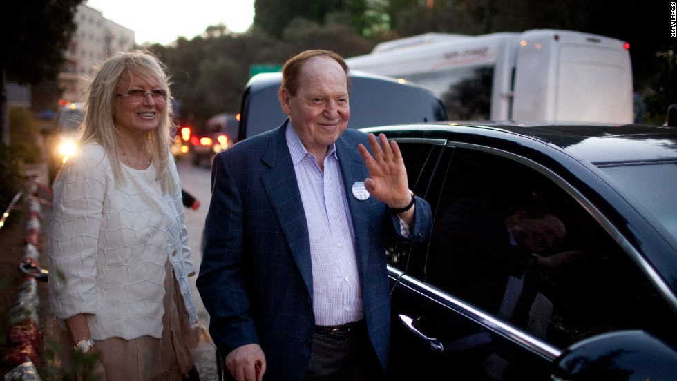 U.S. gaming tycoon Sheldon Adelson was also on hand for a Romney fundraiser in Jerusalem. Adelson is expected to donate as much as $100 million to Republican causes in the 2012 election cycle.