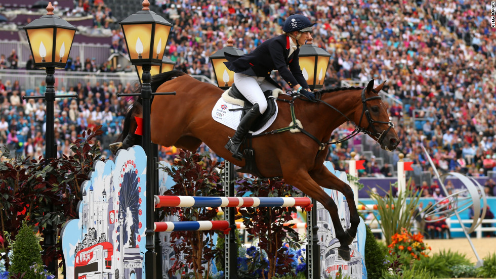 Britain's Zara Phillips rides High Kingdom in the show jumping phase of the eventing competition Tuesday.