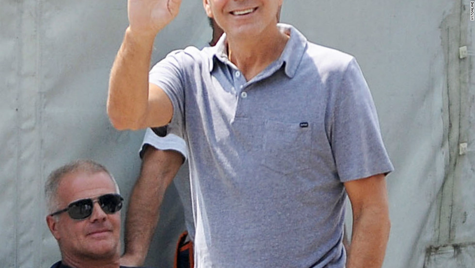 George Clooney takes a stroll through Sarnico, Italy on July 30, 2012.