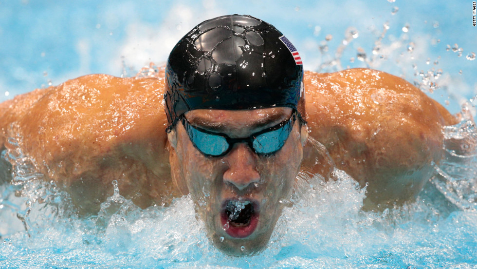 Michael Phelps of the United States competes in the second semifinal heat of the men's 200-meter butterfly.