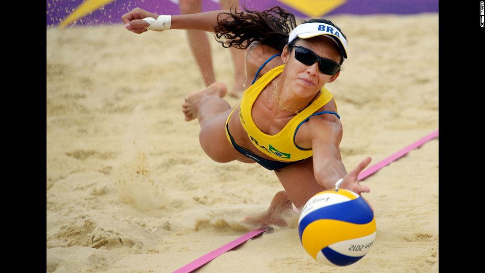 Brazil's Talita Rocha dives for the ball during the women's beach volleyball match against Germany on Tuesday.